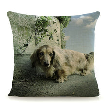 Load image into Gallery viewer, dog printed cotton linen cushion cover 45x45cm