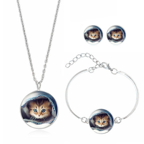 Silver Plated Glass Cabochon Cat Pattern Choker Necklace Earring and Bracelet Set for Women Gift