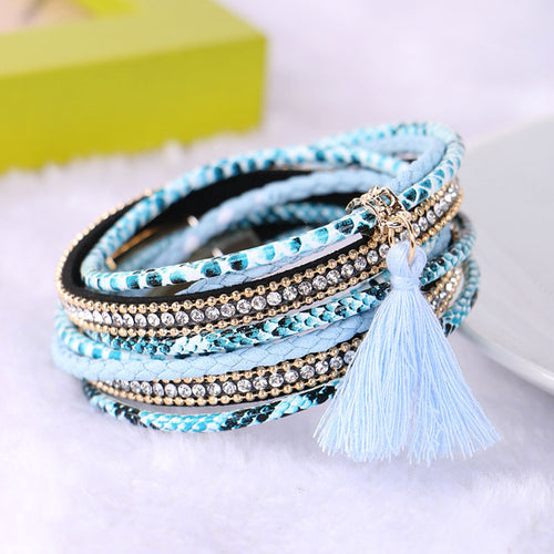 Braided Multi layer Rhinestone Leather Bracelet