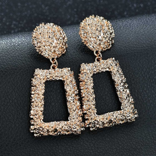 Big Vintage Earrings for Women Gold Silver Black Geometric Statement Earring Fashion Jewelry