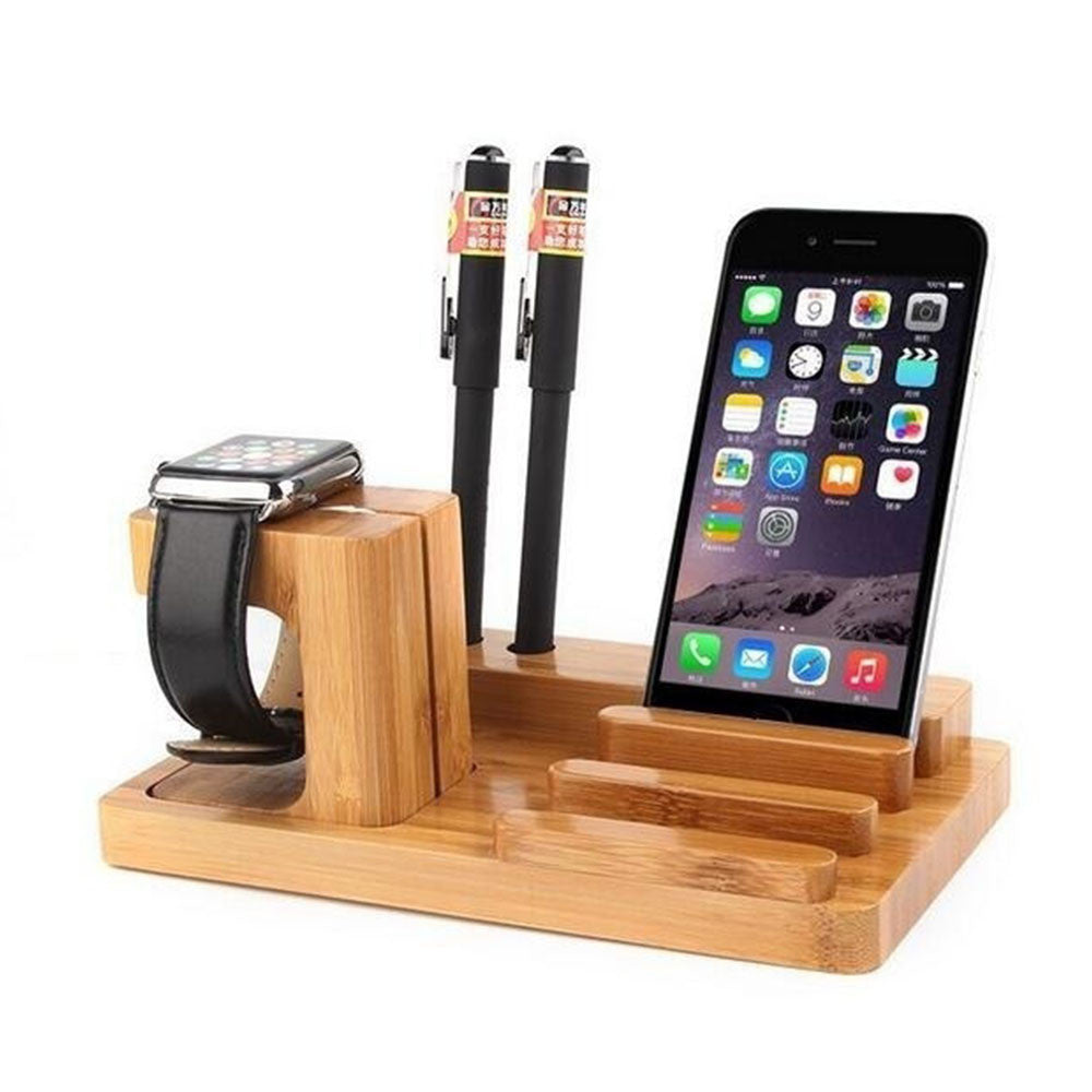 Multi-Functional Desktop Bracket Office Charging Base Watch Holder Wooden 4-Port USB and Phone Stand