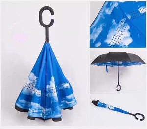 Windproof Reverse Folding Double Layer Inverted Umbrella Self Stand umbrella rain women high quality 2018