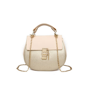 Chain Panelled Women Messenger Bags Women's Cross Body Saddle Lock Handbag Bags