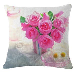 Spring Fashion Rose flower Printed Pillow Cushion Cover