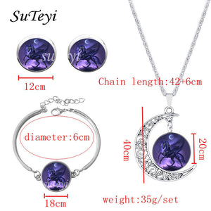 Fashion Earrings Jewelry Set Glass Unicorn Bracelets Earings Moon Necklace Sets for Women