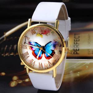 Butterfly Leather Band Quartz Alloy Wristwatch