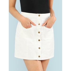 Button Up Solid Skirt