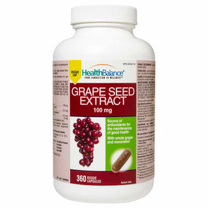 Health Balance Grape Seed Extract, 葡萄籽胶囊,100mg, 360 VCaps