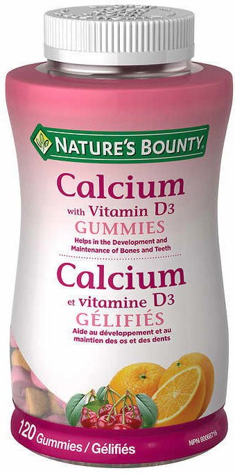 Nature's Bounty Calcium with Vitamin D3 Gummies, 自然之宝钙+D3软糖, 120 Gummies