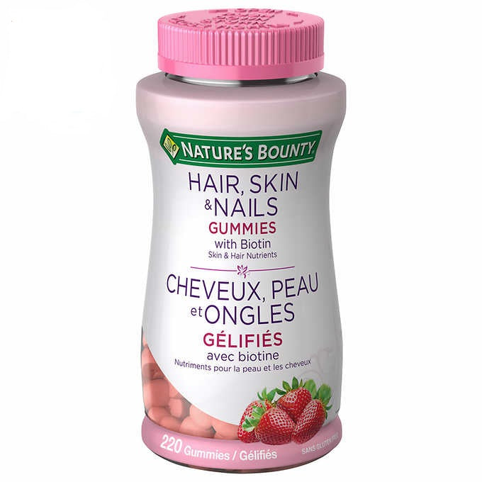 Nature's Bounty Hair, Skin & Nails Gummies with Biotin, 胶原蛋白软糖, 220 Gummies