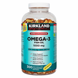 Kirkland Signature Omega-3 Fish Oil, 鱼油,1000mg, EPA 440mg, DHA 280mg, 300 Softgels
