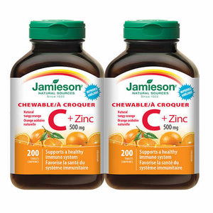 Jamieson Chewable C+Zinc, 健美生VC+锌,500mg, 200Tablets*2