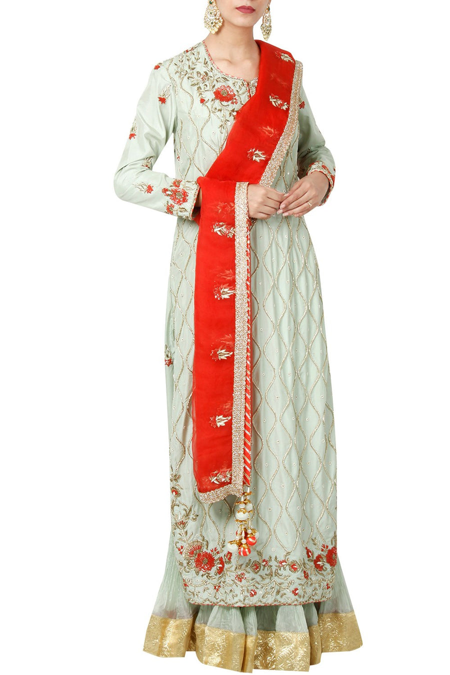 Mint Zardosi Kurta With Lehenga And Dupatta – Priyanka Singh