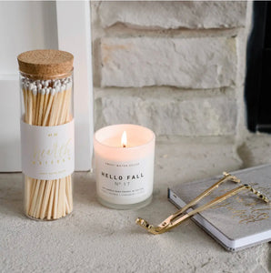 White Hearth Matches - Glass Jar