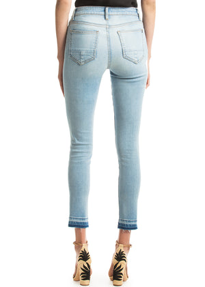 Skinny High Rise Jeans w/ Released Hem