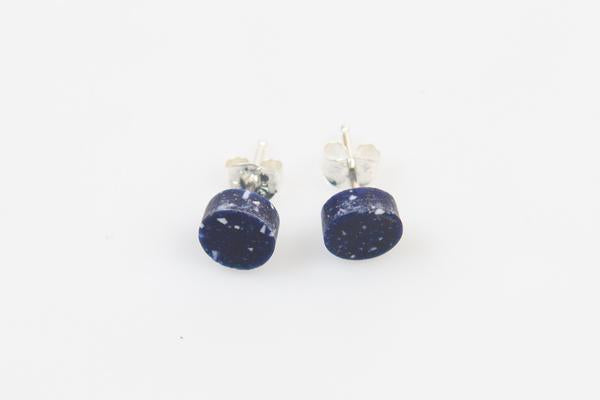 Corian Small Stud Circle Earrings - Cobalt