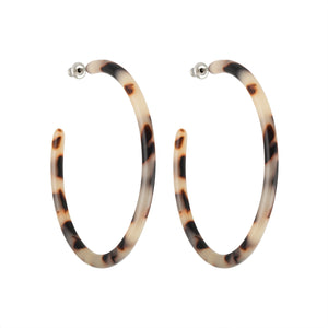 Large Hoops in Ash Blonde Tortoise