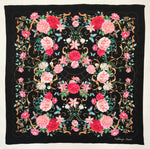 Pink on Black Floral Silk Scarf