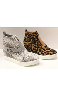 Wedged Sneakers Snakeskin and Leopard