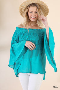 Umgee Off Shoulder Floral Lace Bell Sleeve Top