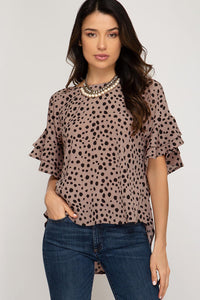 She & Sky Rose Mocha Tie Top