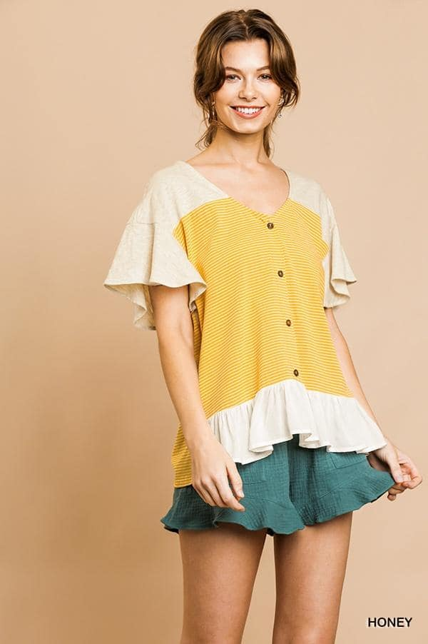 Umgee Babydoll Style Top in Honey
