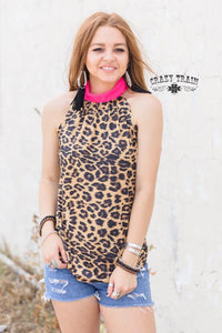 Crazy Train Leopard Pink Wild Kelly Bow Tank
