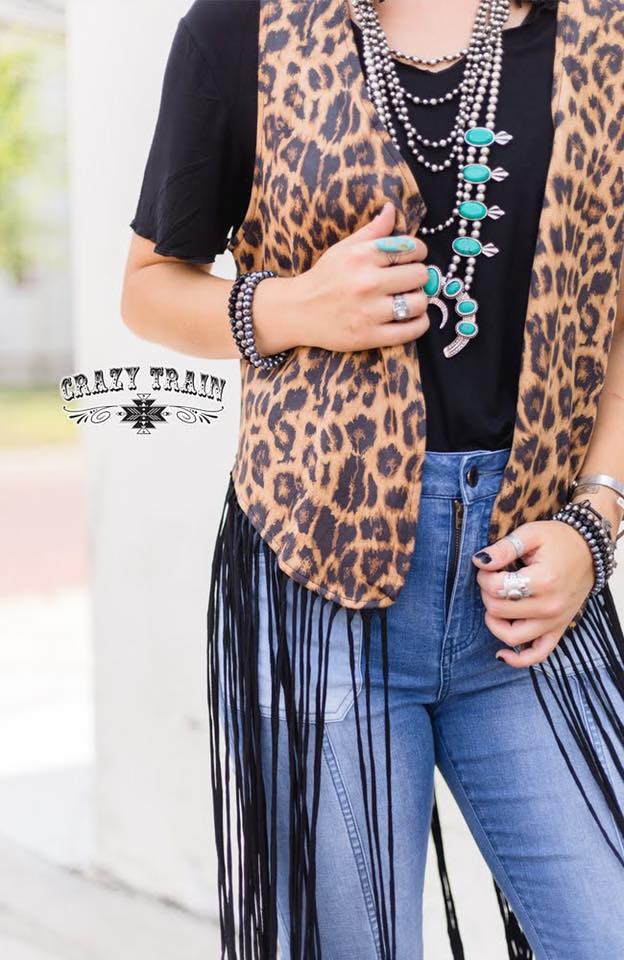 Crazy Train Leopard Fringed Vest One Size