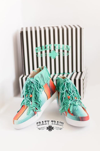 Crazy Train Walk The Line Serape Sneakers with Fringe