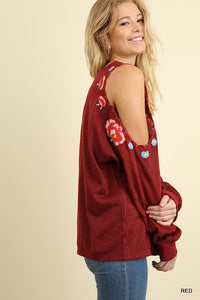 Umgee Rust Red Long Sleeve Top