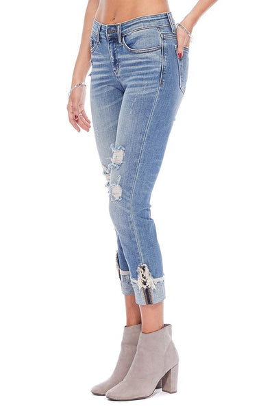 Judy Blue Cuffed Destroyed Cropped Jeans