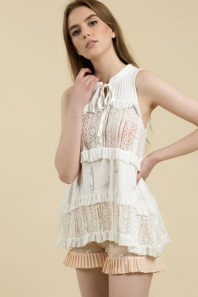 POL Ruffle Sleeveless Blouse
