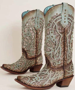 Corral Mint Sequin Western Boots
