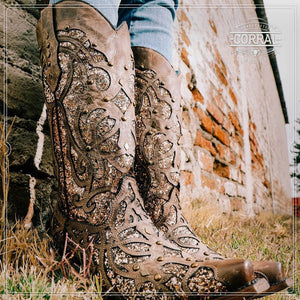 Corral Brown Sequin Western Boots