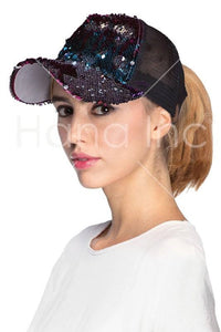 Sequin Ponytail Baseball Cap, Multiple Color Options