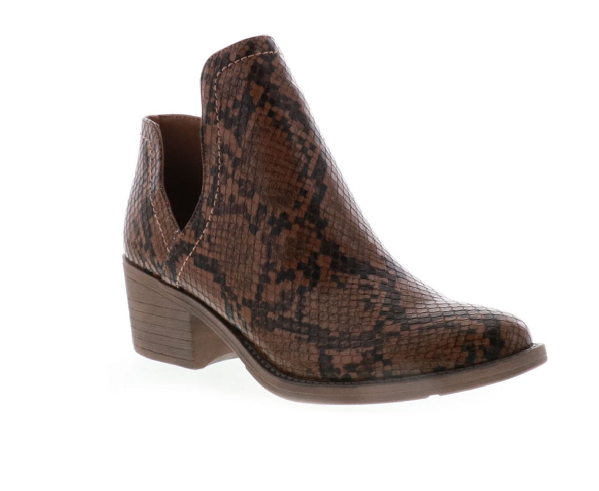 Very Volatile Snakeskin Booties