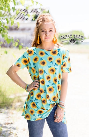 Sassy Sunflower Knot Top