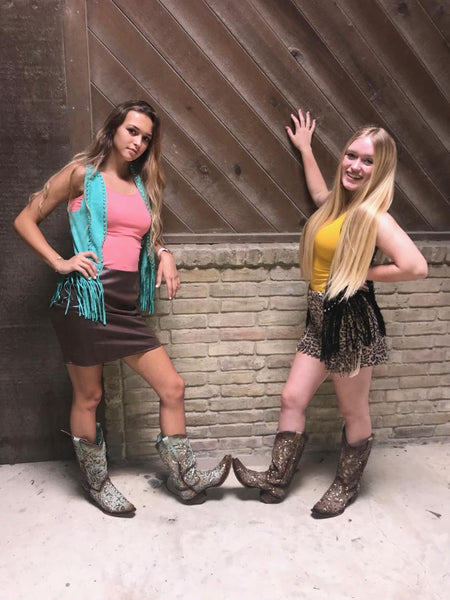 Crazy Train Fringed Vest in Mint or Black