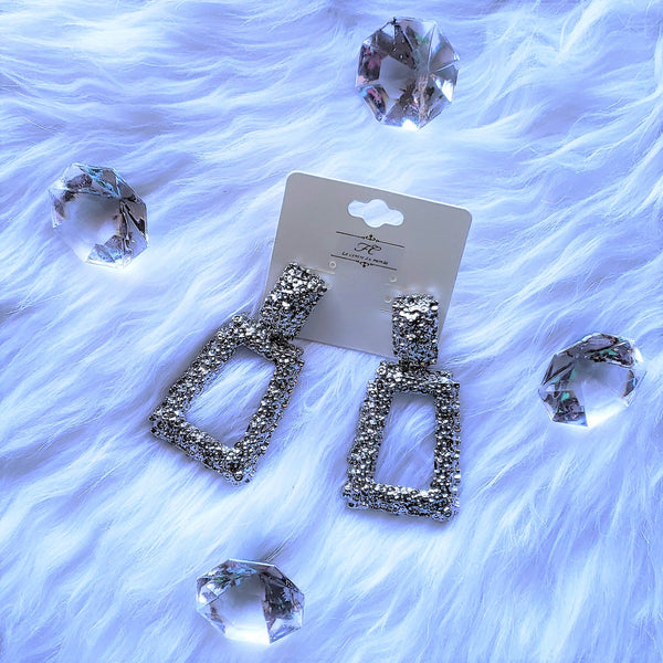 Silver Square Drop Earrings (PREORDER) SHIPS APRIL 29th