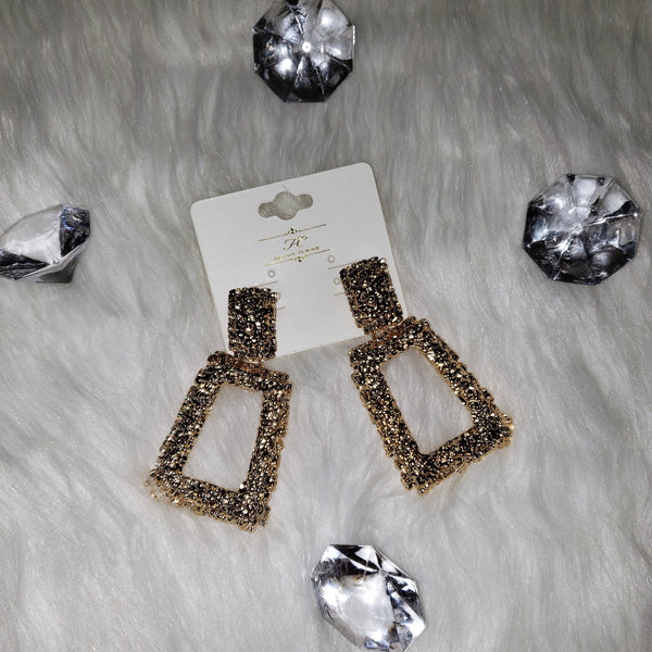 Gold Square Drop Earrings