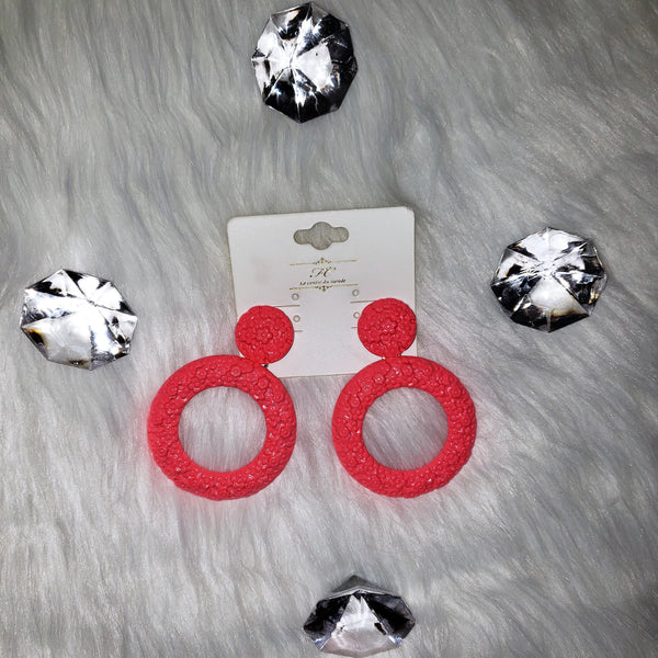 Neon Pink Circle Earrings