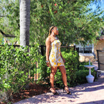 (Mustard) Snakeskin Mini Dress