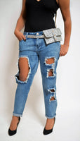 Boyfriend Destroyed Jeans (Medium Blue)