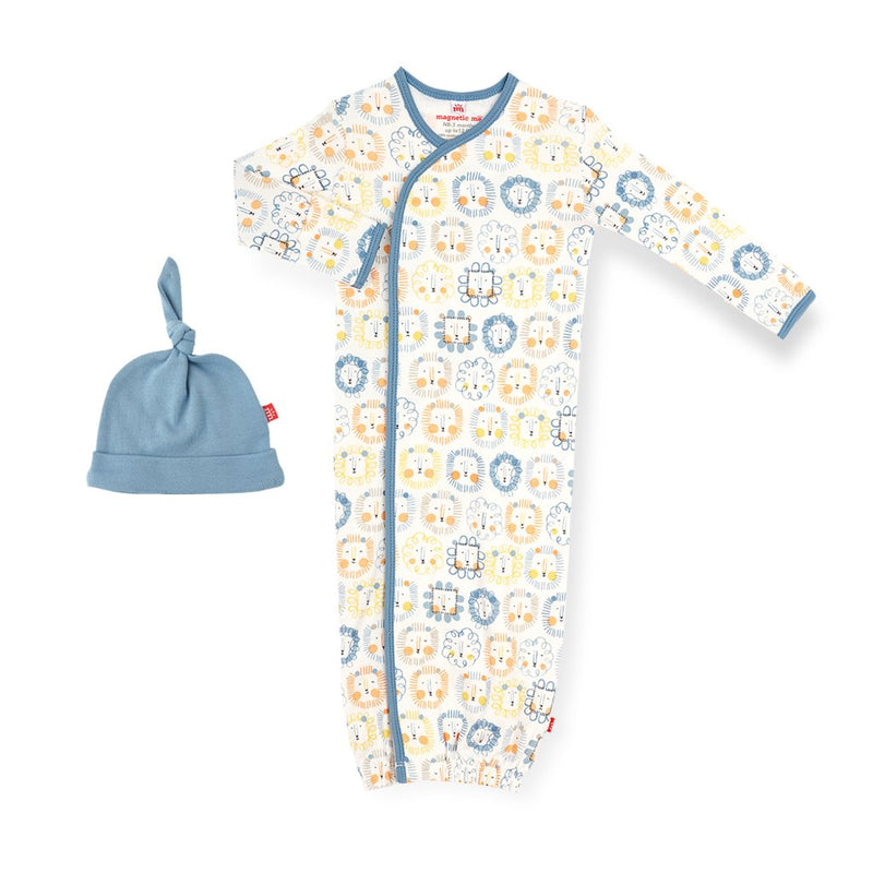 Organic Cotton Magnetic Gown + Hat Set