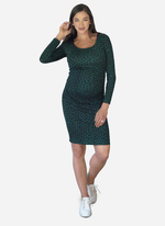 Shirred forest animal maternity dress