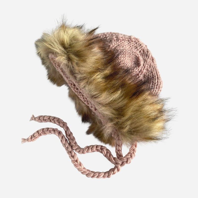 Lennon Lion Hand Knit Hat with Faux Fur