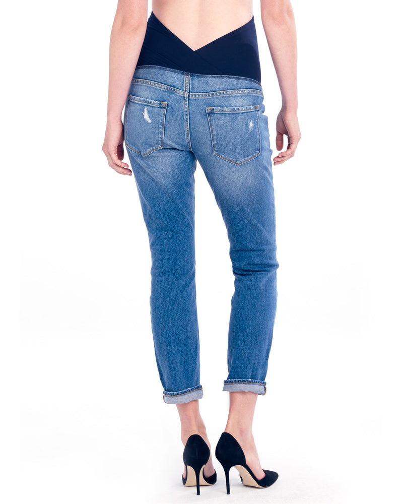 Maternity Boyfriend Jeans with Crossover Panel