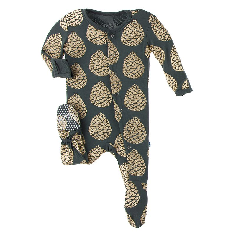 Pinecone Footed Zipper Pajama