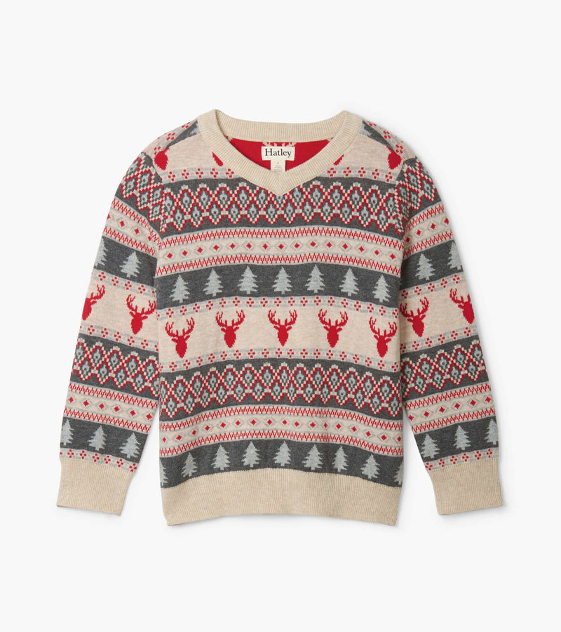 Hatley Fair Isle Stags V-Neck Sweater