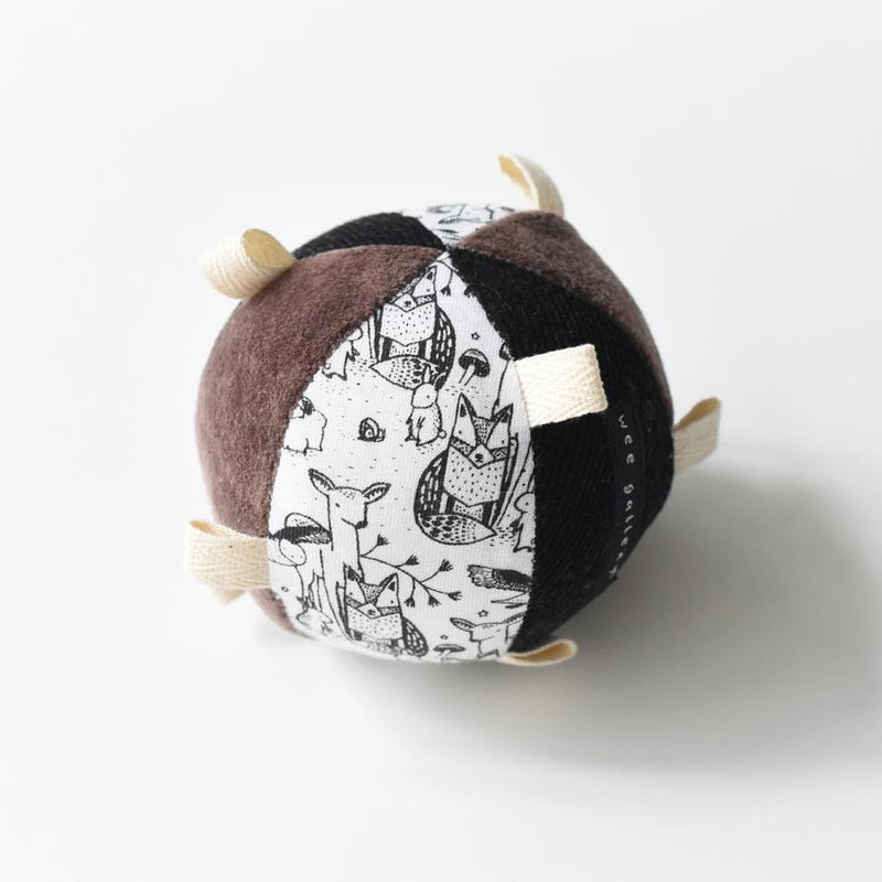 Organic Taggy Ball with Rattle in Woodland Brown
